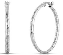 Italian Made -Sterling Silver Hoop Earrings (with Clasp)