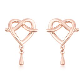 LucyQ Entwined Heart Drip Earrings (with Push Back) in Rose Gold Overlay Sterling Silver