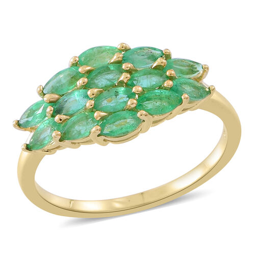 2 Carat AA Zambian Emerald Cluster Ring in 9K Gold 2.65 Grams