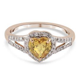 9K Yellow Gold AA Yellow Sapphire and Diamond Ring 1.33 Ct.