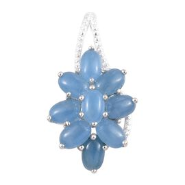 5 Carat Light Blue Jade Floral Cluster Pendant in Sterling Silver