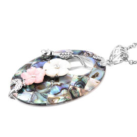 Abalone Shell, White Austrian Crystal, Flower Carved Pink and White Shell Pendant with Chain (Size 2