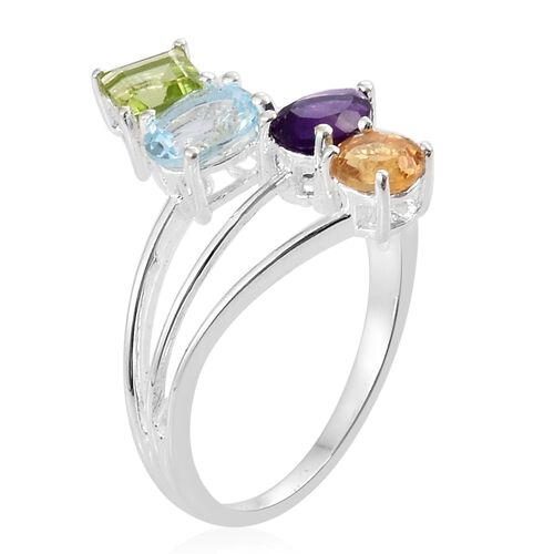 Amethyst (Pear), Sky Blue Topaz, Hebei Peridot and Citrine Overlay Ring in Sterling Silver 2.750 Ct