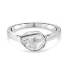 Artisan Crafted Polki Diamond Ring (Size O) in Platinum Overlay Sterling Silver 0.25 Ct.