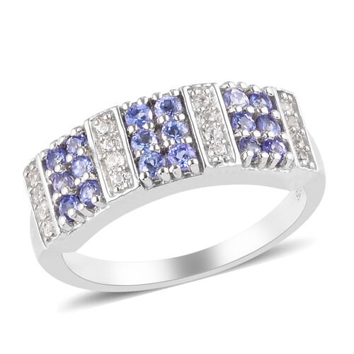 Zircon, Tanzanite Cluster Ring in Platinum Overlay Sterling Silver 0.14 ct  0.800  Ct.