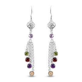 Multi gemstones Dangling Earring  Sterling Silver 4.22 ct  4.220  Ct.