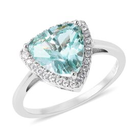 Lustro Stella Simulated Green Spinel and Simulated Diamond Halo Ring in Rhodium Plated Silver