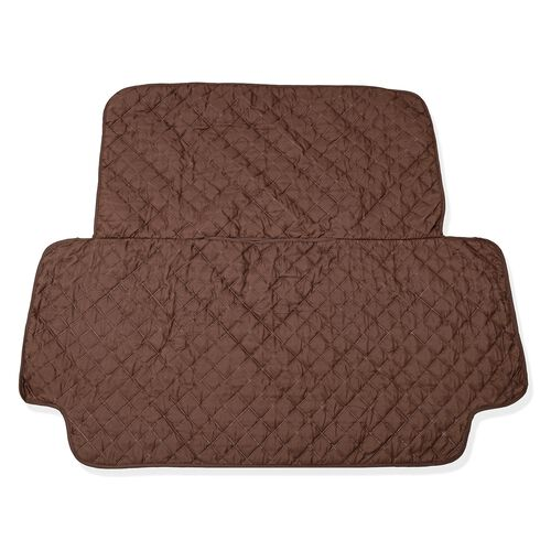 Water Repellent and Quilted Car Back Seat Protecter - Double Face Chocolate and Cream Colour (133x59