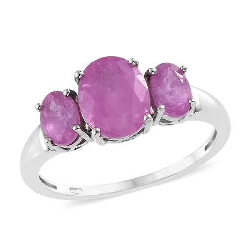Limited Edition - Madagascar Hot Pink Sapphire (Ovl) 3 Stone Ring (Central Stone 2.20 ct)  in Platinum Overlay Sterling Silver 3.400 Ct.