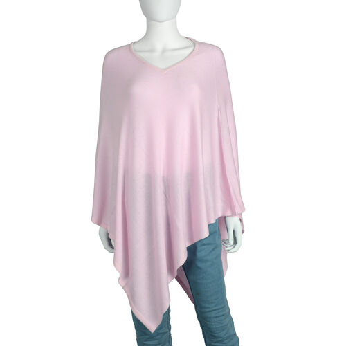 Limited Available - 100% Himalayan Pashmina Wool Poncho - Baby Pink Colour (Free Size/70x70Cm)