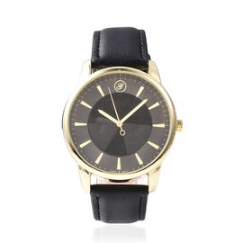 GENOA Japanese Movement Water Resistant Watch in Yellow Gold Plated - Black
