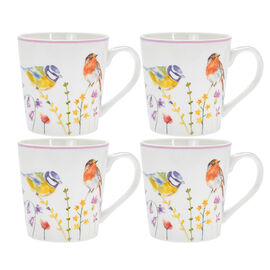 Lesser & Pavey Set of 4 - Garden Birds Mug in off White and Pink (9X7 CM)