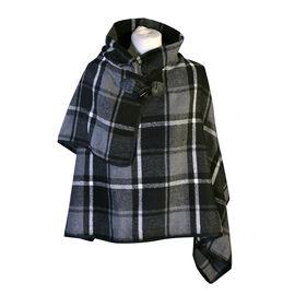 Black Check Knit Poncho (Size 70x75cm)