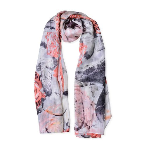 100% Mulberry Silk Peach, Black and White Colour Butterfly and Floral Pattern Scarf (Size 180X110 Cm)