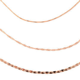 Italian Made- Set of 3 -  Rose Gold Overlay Sterling Silver Valentino, Singapore and Box Chain (Size