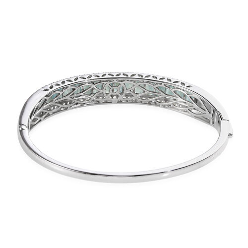 Grandidierite (Bgt), Natural Cambodian Zircon Bangle (Size 7.5) in Platinum Overlay Sterling Silver 11.25 Ct, Silver wt 23.88 Gms