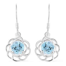 Sky Blue Topaz (Rnd) Hook Earrings in Sterling Silver 3.000 Ct.