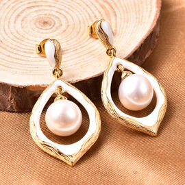 Edison Pearl Drop Earrings in Yellow Gold Overlay Sterling Silver