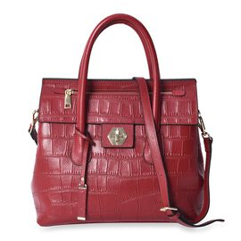 100% Genuine Leather Red Colour Croc Embossed Tote Bag with Removable Shoulder Strap (Size 32x13x30)