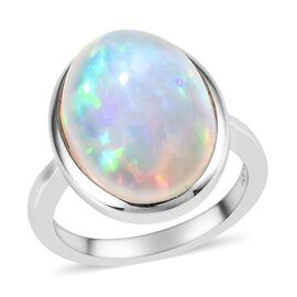 RHAPSODY 950 Platinum AAAA Ethiopian Welo Opal (Ovl 16x12xmm) Solitaire Ring 5.00 Ct, Platinum wt 7.
