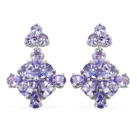 4.66 Ct Tanzanite Floral Drop Earrings in Platinum Plated Silver