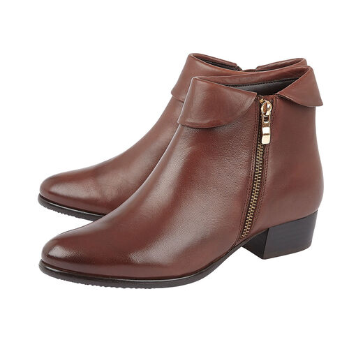 Lotus MAGGIE Ankle Boots with Turn Down Collar and Zipper Closure (Size 6) - Tan