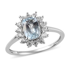 1.03 Ct AA Espirito Santo Aquamarine and Zircon Halo Ring in 9K White Gold