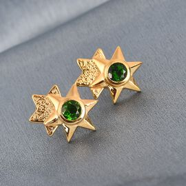 GP Russian Diopside and Blue Sapphire Stud Earrings (with Push Back) in 14K Gold Overlay Sterling Silver 1.04 Ct.