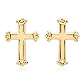 Cross Stud Earrings for Kids in 9K Yellow Gold