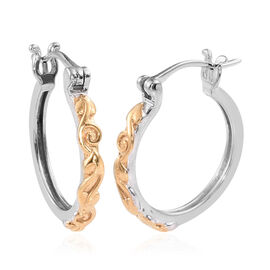 Platinum and Yellow Gold Overlay Sterling Silver Hoop Earrings, Silver wt 3.37 Gms
