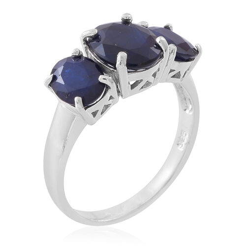 Kanchanaburi Blue Sapphire (Ovl 3.60 Ct) 3 Stone Ring in Rhodium Plated Sterling Silver 7.250 Ct.