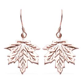 Rose Gold Overlay Sterling Silver Maple Leaf Hook Earrings, Silver wt 6.00 Gms