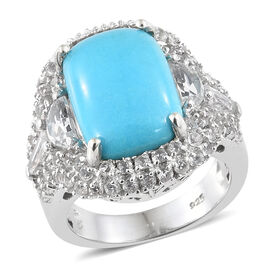 Arizona Sleeping Beauty Turquoise (Cush), White Topaz Cluster Ring in Platinum Overlay Sterling Silv