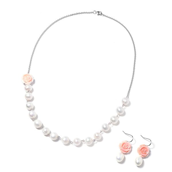 Jardin Collection 2 Piece Set Freshwater Pearl and Pink Mother of Pearl Beaded Necklace and Hook Ear