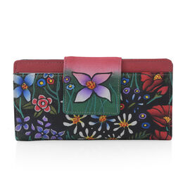 SUKRITI - 100% Genuine Leather Red Colour Floral Print Handpainted Wallet with RFID Blocking (Size 19.68x10.16x2.54 Cm)