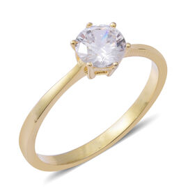 ELANZA Simulated Diamond (Rnd) Solitaire Ring in Yellow Gold Overlay Sterling Silver