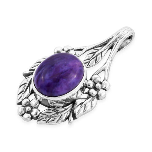 Royal Bali Collection - Russian Chaorite Floral Leaf Pendant in Sterling Silver 4.65 Ct.