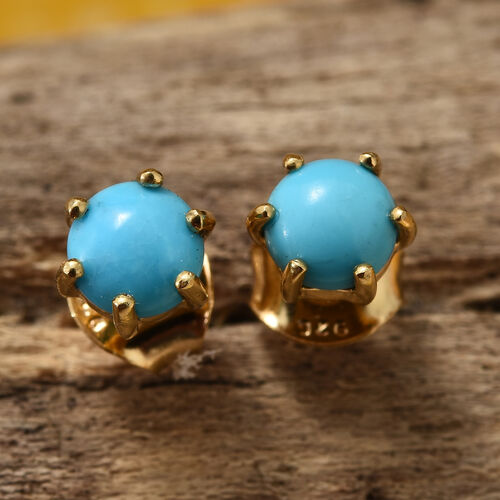 Arizona Sleeping Beauty Turquoise (Rnd) Stud Earrings (with Push Back) in 14K Gold Overlay Sterling Silver 1.000 Ct
