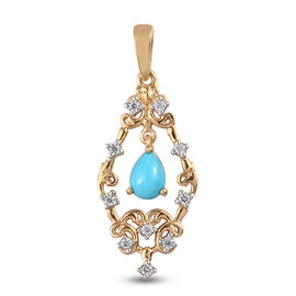 Arizona Sleeping Beauty Turquoise and Natural White Cambodian Zircon Pendant in 14K Gold Overlay Ste