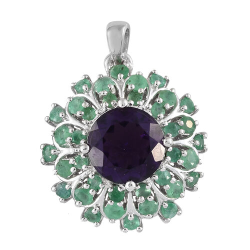 Amethyst (Rnd 4.25 Ct), Kagem Zambian Emerald Floral Pendant in Platinum Overlay Sterling Silver 6.0