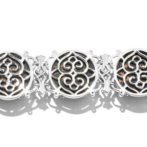 Designer Inspired-Arizona Mojave Black Turquoise (Ovl) Bracelet (Size 7.5) in Platinum Overlay Sterling Silver 82.000 Ct. Silver WT 30.00 Gms