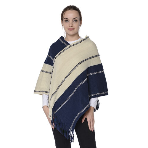 Stripe Pattern Poncho in Navy and Off-White (54x70cm)