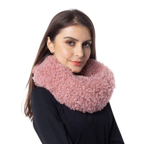 Soft and Fluffy Faux Fur Infinity Scarf - (Size:20x40cm) - Pink
