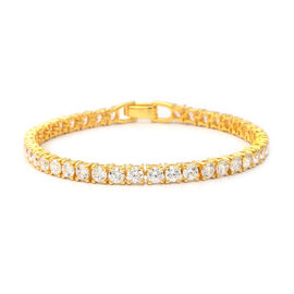 ELANZA Swiss Star Cut Cubic Zirconia Tennis Bracelet in Gold Plated Silver 10.30 Grams 8 Inch