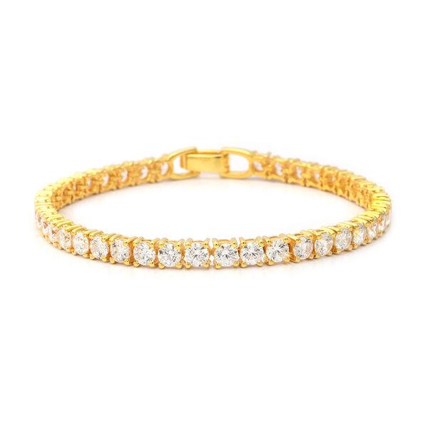 ELANZA Swiss Star Cut Cubic Zirconia Tennis Bracelet in Gold Plated Silver 10.30 Grams 8 Inch