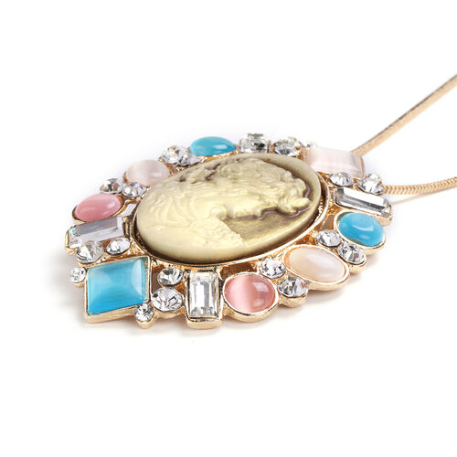Multi Colour Simulated Cats Eye, White Austrian Crystal and Simulated Diamond Pendant with Chain in Yellow Gold Tone