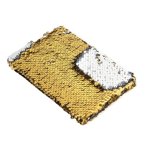 Set of 3 Sequin Covered Notebooks (Big Size 21x15x2 Cm), (Medium Size 15x10.5x1.5 Cm), (Small Size 11.5x8x1 Cm) Colour Gold