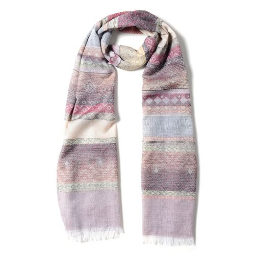 Wine Red, Grey and Multi Colour Scarf with Strip Pattern (Size 180x68 Cm)