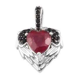 GP African Ruby, Boi Ploi Black Spinel and Blue Sapphire Pendant in Platinum Overlay Sterling Silver