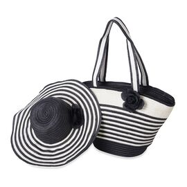Black and White Colour Flower Adorned Stripe Pattern Tote Bag (Size 47x30x20x13 Cm) and Hat (Size 29x24 Cm)